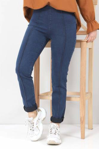 Tesettür Dünyası - Yandan Fermuarlı Kot Tayt Pantolon TSD22033 Koyu Mavi (1)
