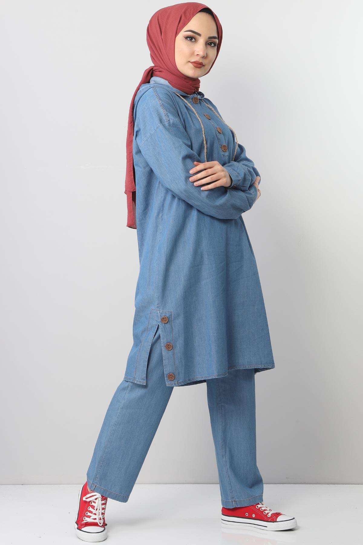 Yandan Yırtmaçlı Kot İkili Takım TSD0454 Açık Mavi