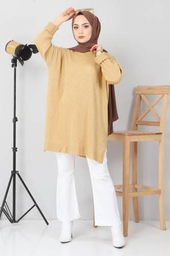 Yanı Yırtmaçlı Triko Tunik TSD02013 Camel - Thumbnail