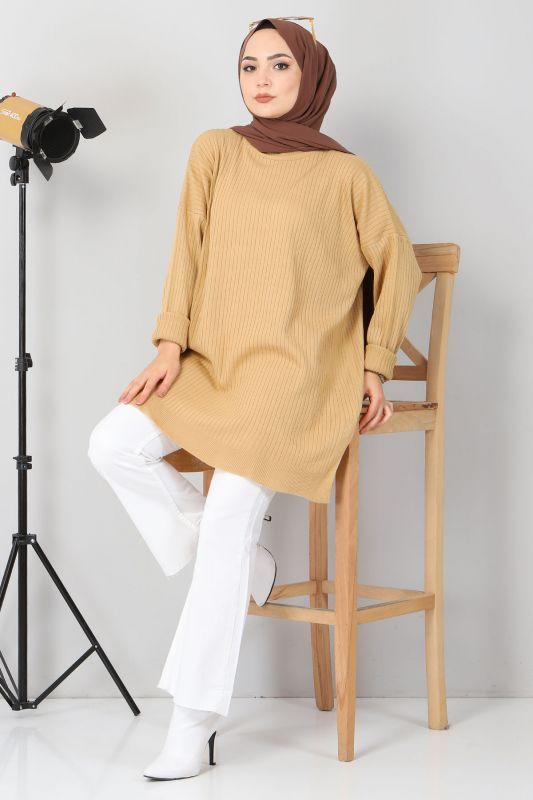Yanı Yırtmaçlı Triko Tunik TSD02013 Camel