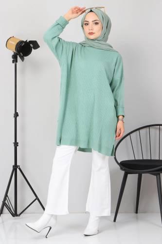 Yanı Yırtmaçlı Triko Tunik TSD02013 Mint Yeşili - Thumbnail