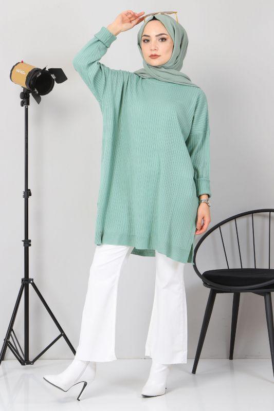 Yanı Yırtmaçlı Triko Tunik TSD02013 Mint Yeşili