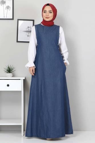 Tesettür Dünyası - Lace-Up Jeans Gilet TSD4429 Blue