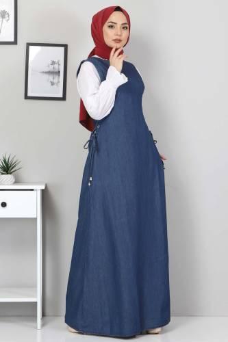 Tesettür Dünyası - Lace-Up Jeans Gilet TSD4429 Blue (1)