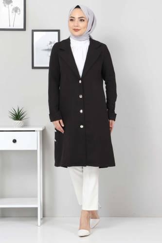 Yanları Süs Düğmeli Ceket TSD10638 Siyah - Thumbnail