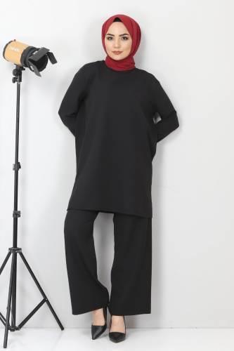 Tesettür Dünyası - Yanları Yırtmaçlı İkili Takım TSD10603 Siyah (1)