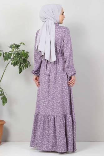 Yaprak Desenli Tesettür Elbise TSD7124 Lila - Thumbnail