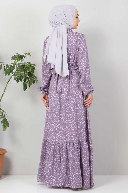 Yaprak Desenli Tesettür Elbise TSD7124 Lila