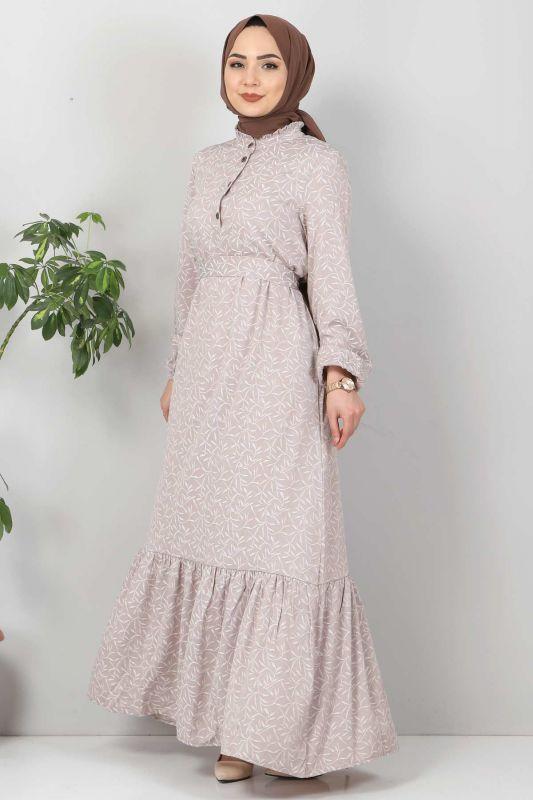 Yaprak Desenli Tesettür Elbise TSD7124 Vizon