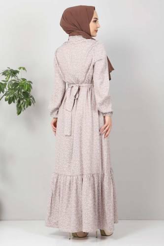 Yaprak Desenli Tesettür Elbise TSD7124 Vizon - Thumbnail