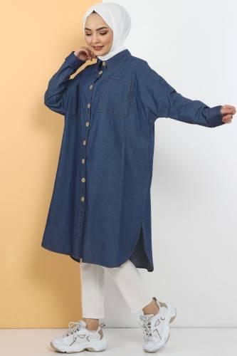 Tesettür Dünyası - Yarasa Kol Salaş Kot Tunik TSD10515 Koyu Mavi
