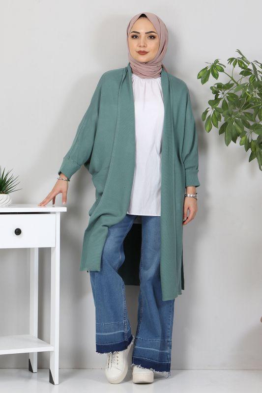 Yarasa Kol Triko Hırka TSD5297 Mint Yeşili