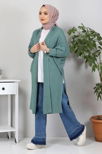 Yarasa Kol Triko Hırka TSD5297 Mint Yeşili - Thumbnail