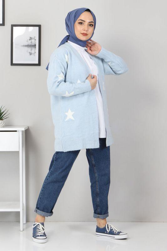 Yıldız Desen Triko Hırka TSD10115 Bebe Mavisi