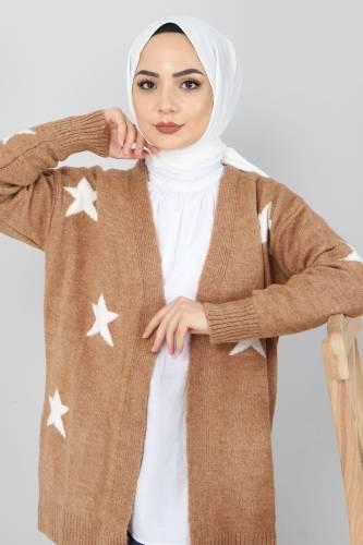 Yıldız Desen Triko Hırka TSD10115 Camel - Thumbnail