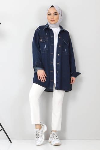 Tesettür Dünyası - Yıpratmalı Kot Ceket TSD1225 Koyu Mavi (1)