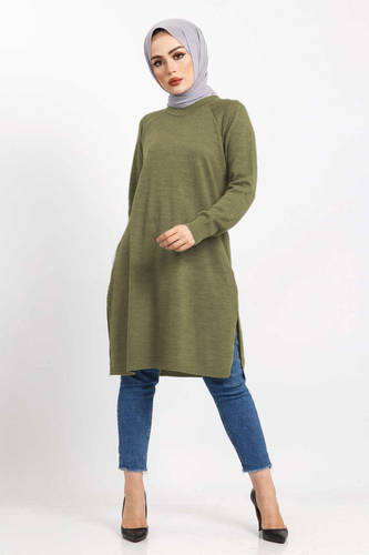 Tesettür Dünyası - Yırtmaçlı Triko Tunik TSD5239 Olive Yeşili