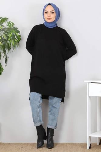 Yırtmaçlı Triko Tunik TSD9390 Siyah - Thumbnail