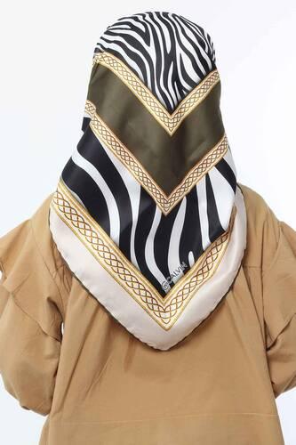 Zebra Patterned Scarf E005 Khaki - Thumbnail