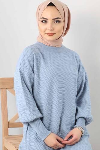 Zigzag Patterned Tricot Tunic TSD5180 BLUE - Thumbnail