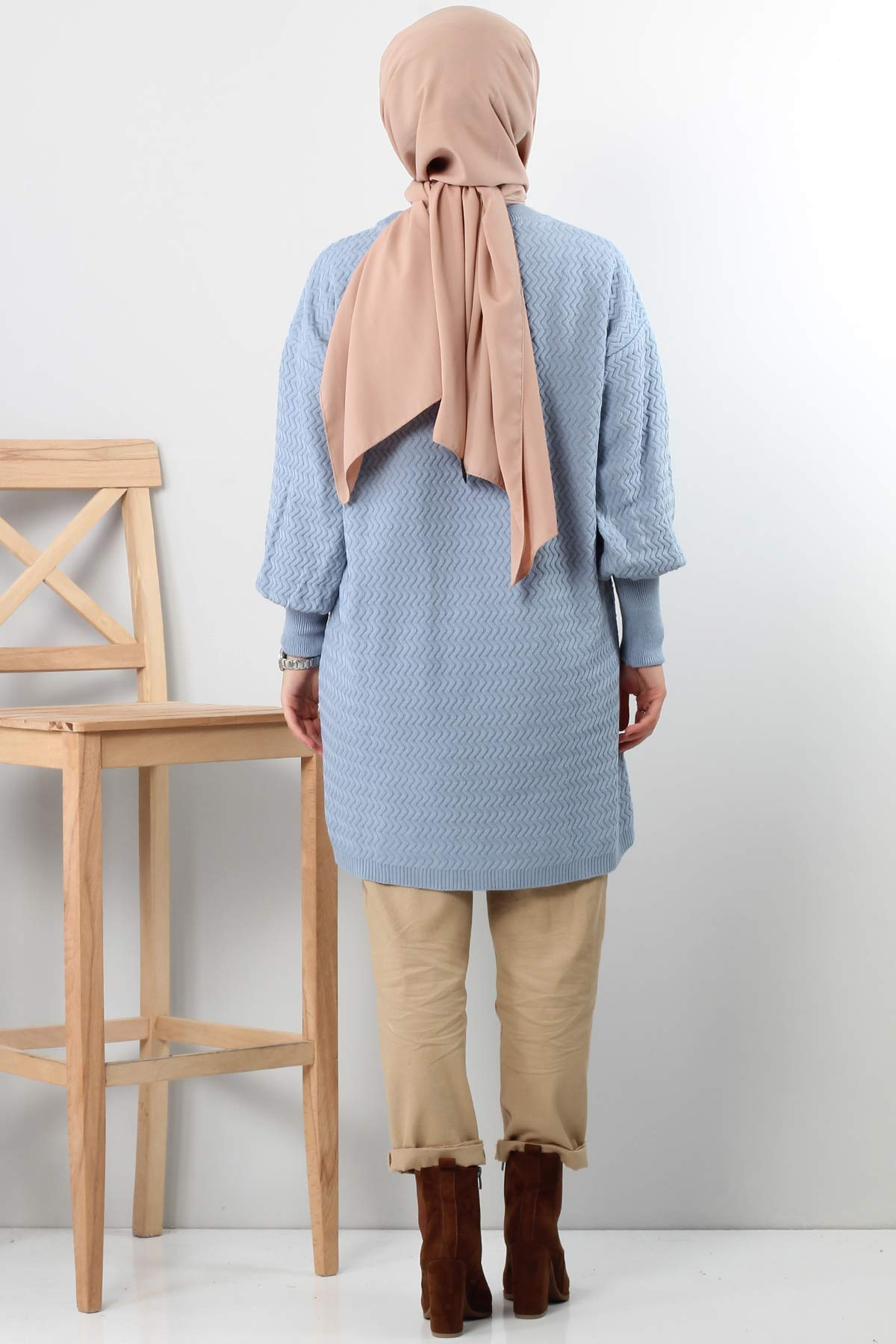 Zigzag Patterned Tricot Tunic TSD5180 BLUE