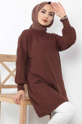 Tesettür Dünyası - Zigzag Patterned Tricot Tunic TSD5180 Dark Brown (1)