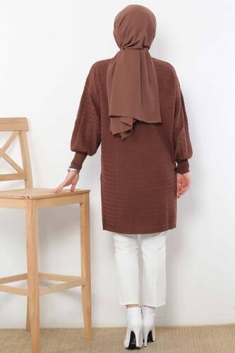 Zigzag Patterned Tricot Tunic TSD5180 Dark Brown - Thumbnail