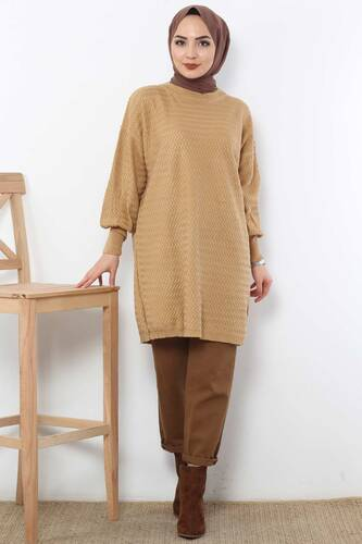 Tesettür Dünyası - Zigzag Tricot Tunic TSD5180 Light Brown.