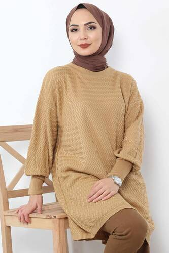 Tesettür Dünyası - Zigzag Tricot Tunic TSD5180 Light Brown. (1)