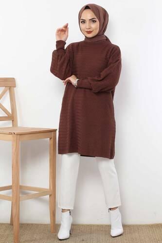 Tesettür Dünyası - Zikzak Desenli Triko Tunik TSD5180 Koyu Kahverengi
