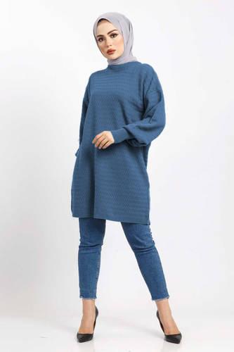 Tesettür Dünyası - Zikzak Desenli Triko Tunik TSD5180 Mavi