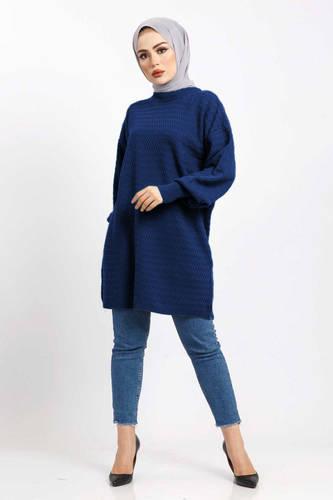 Tesettür Dünyası - Zigzag Patterned Tricot Tunic TSD5180 blue