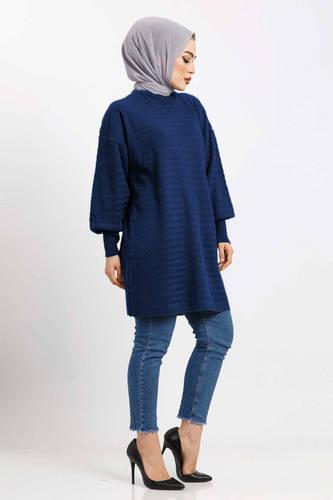 Tesettür Dünyası - Zigzag Patterned Tricot Tunic TSD5180 blue (1)