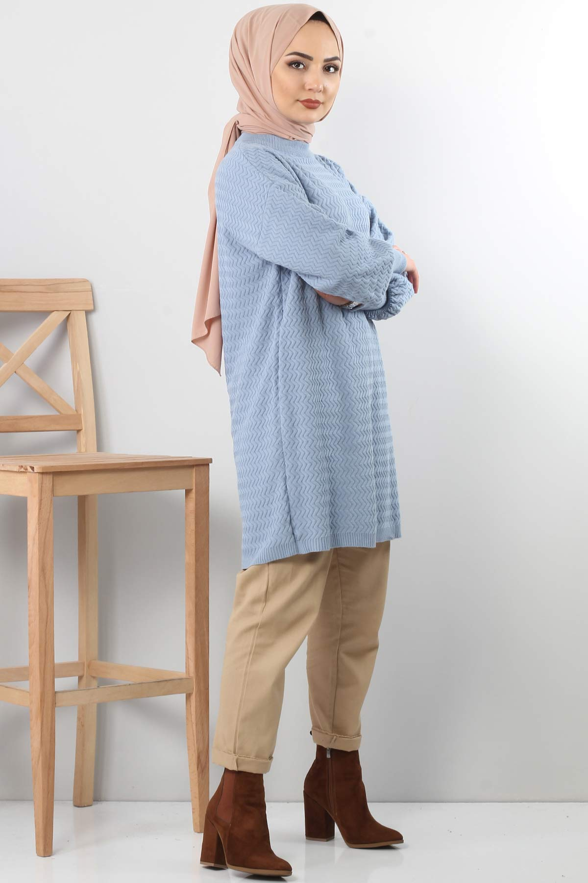 Zikzak Desenli Triko Tunik TSD5180 Bebe Mavisi