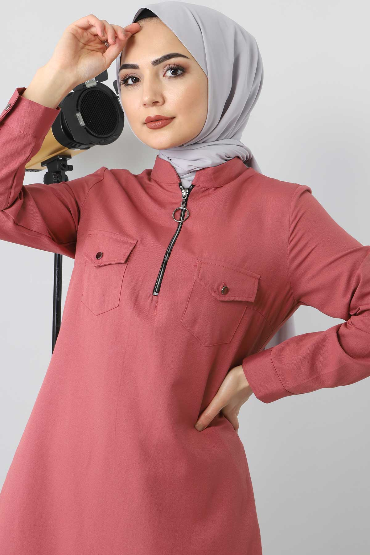 Zip Tunic TSD3012 dark pink