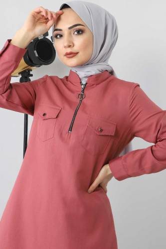 Zip Tunic TSD3012 dark pink - Thumbnail
