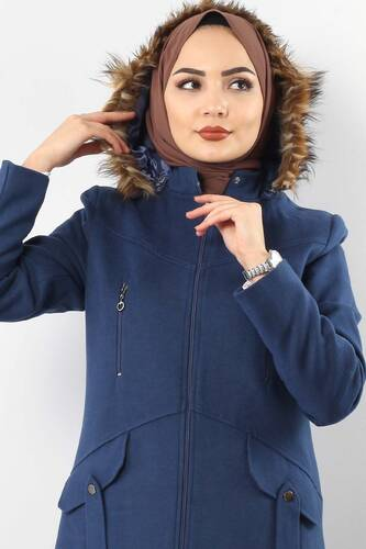Tesettür Dünyası - Zipper Detailed Cachet Coat TSD1943 BLUE (1)