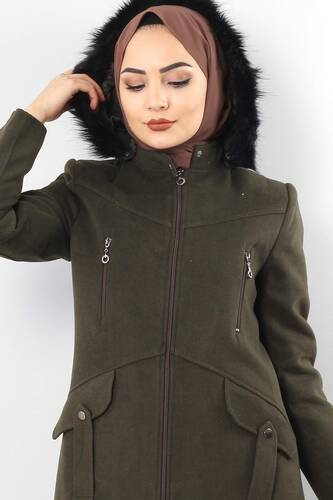 Tesettür Dünyası - Zipper Detailed Cachet Coat TSD1943 KHAKI (1)