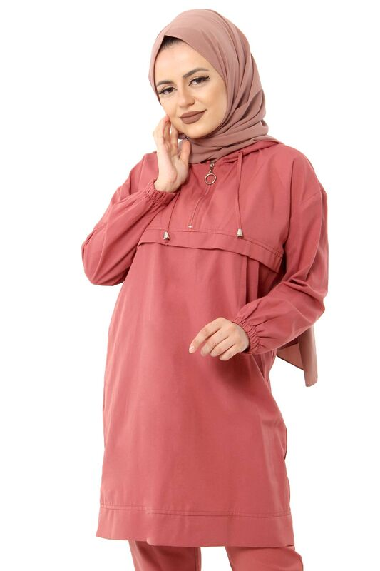 Zippered Hooded Double Suit TSD1114 Coral