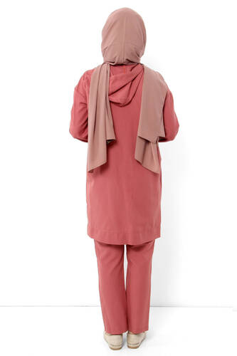 Zippered Hooded Double Suit TSD1114 Coral - Thumbnail